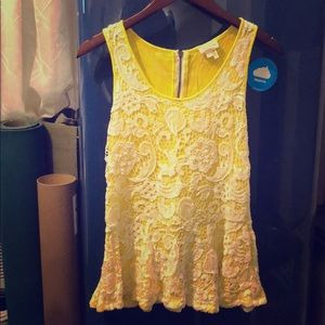 Yellow lace overlay